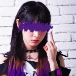 Sion from Guso Drop. Her color is purple. Her middle finger is up.
