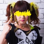 Yura from Guso Drop. Her color is yellow. Her middle finger is up.